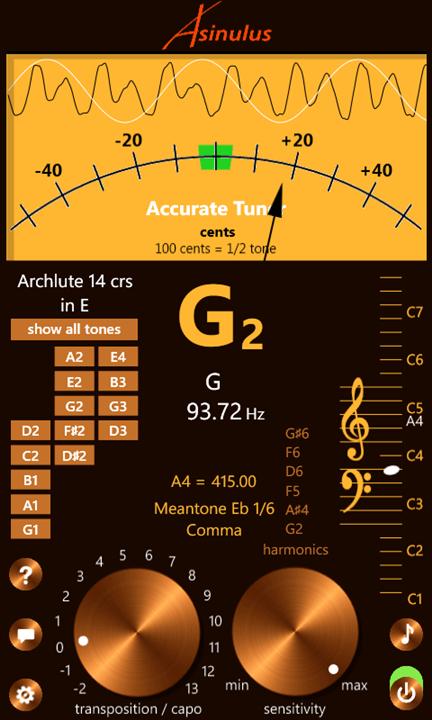 Accurate tuner pro v1.1- музыкальный тюнер с широкими настройками инструментов
