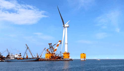 Cамый большой в мире плавучий ветряк на побережье фукусимы