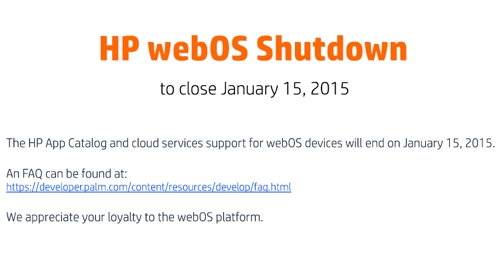 Hewlett-packard назвала день, когда она убьет операционную систему webos