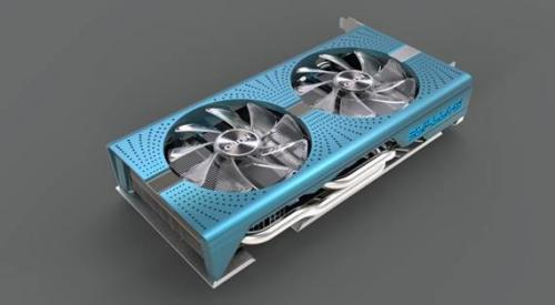 Кожух охладителя 3d-карты sapphire nitro+ radeon rx 580 special edition окрашен в лазурный цвет