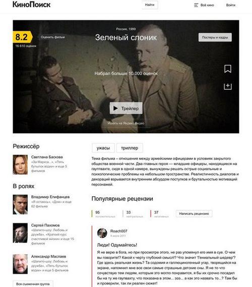 Новая версия кинопоиска вызвала шквал негативных отзывов пользователей