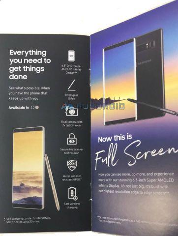 Рекламная брошюра samsung galaxy note 8 подтверждает информацию о возможностях устройства