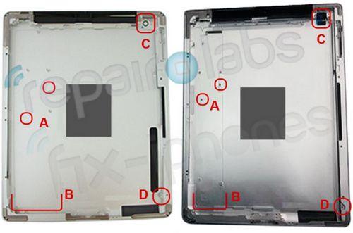 Снимок корпуса от ipad 3 намекает на новый дисплей, батарею и камеру