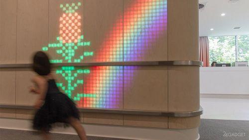 Светящаяся стена lumes оживляет быт детской больницы (7 фото + видео)