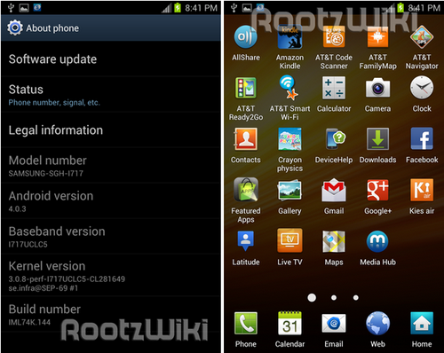 Утечка прошивки android 4.0.3 ice cream sandwich для samsung galaxy note (i717)